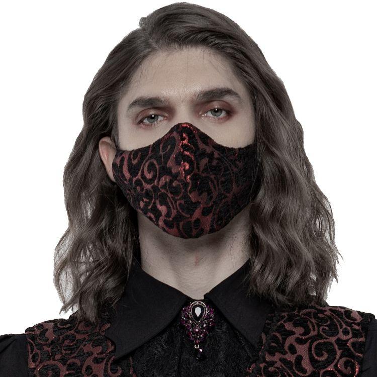 Masque 'Alchemist' en Jacquard Noir et Rouge