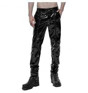 Pantalon Gothique Fetish 'Black Ice' en Vinyle Noir