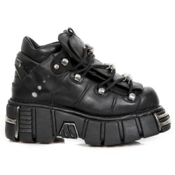 Black Itali and Nomada Leather New Rock Metallic Shoes