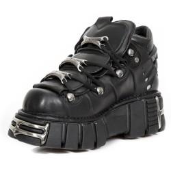 Chaussures New Rock Metallic en Cuir Itali et Nomada Noirs