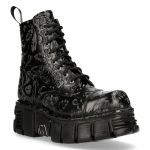 Black Vintage Flower New Rock Metallic Ankle Boots