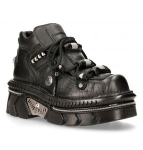 Black Luxor Leather New Rock Metallic Shoes