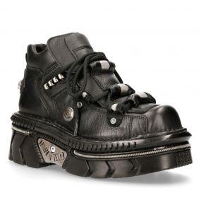 Chaussures New Rock Metallic en Cuir Luxor Noir