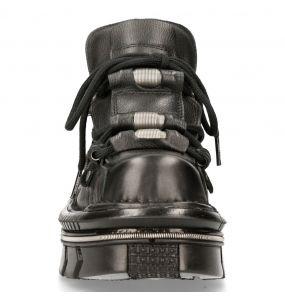 Black Luxor Leather New Rock Metallic Shoes
