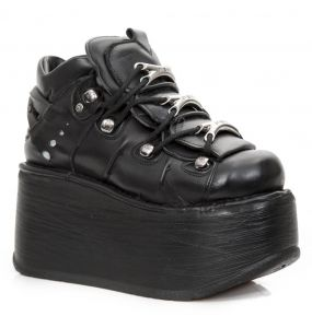 Black Leather New Rock Metallic Marte Platform Shoes