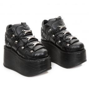 Black Leather New Rock Metallic Marte Platform Shoes