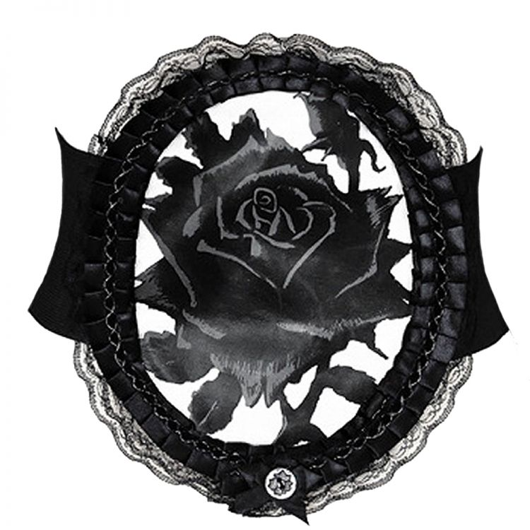 Waist Elastic Belt 'Black Rose' in Lace Frame