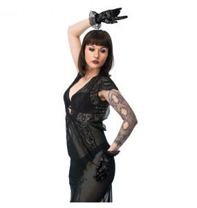 Black Lace Gloves with Ruffles