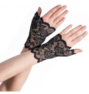 Black Lace Fingerlss Gloves with Floral Pattern