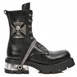 Black Itali Leather New Rock Neo Biker Boots with Malta Cross