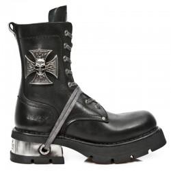 Black Itali Leather New Rock Neo Biker Boots with Malta Cross