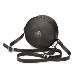 Black Leather Round Shoulder Bag