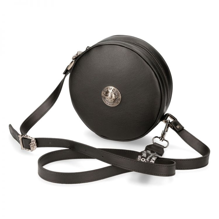 Black Vegan Leather Round Shoulder Bag