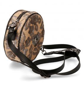 Beige Synthetic Floral Round Shoulder Bag