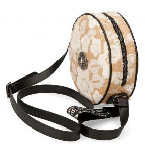 Mother of Pearl Synthetic Floral Round Shoulder Bag