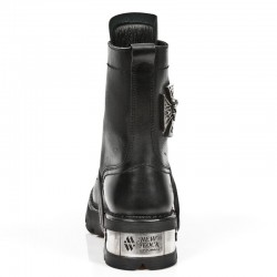 Black Itali Leather New Rock Neo Biker Ankle Boots with Skull and Malta Cross