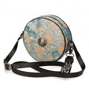 Beige and Green Synthetic Floral Round Shoulder Bag