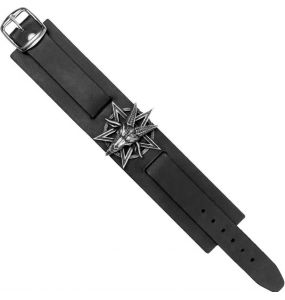 Black 'Baphomet' Leather Wrist Strap