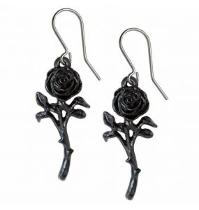 Boucles d'Oreilles 'The Romance of the Black Rose'