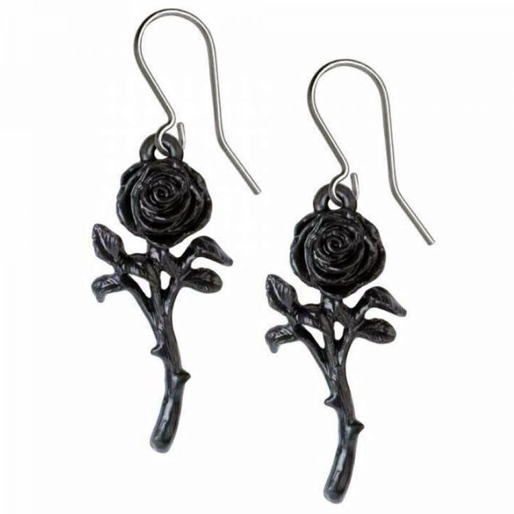 Boucles d'Oreilles 'The Romance of the Black Rose'