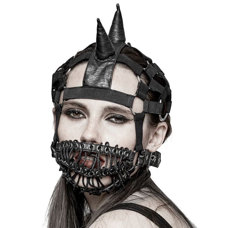 Black 'Dark Horse Mask' with Mohawk Harness Headband