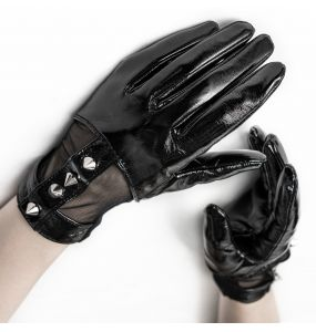 Women's Black 'Fetishista' Gloves with Spikes