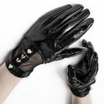 Women's Black 'Fetishista' Gloves with Spikes