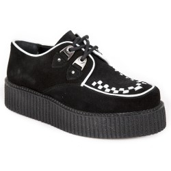 White Napa Leather and Black Suede New Rock Neo Creeper Shoes