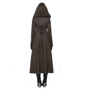 Brown Striped 'Hazel' Steampunk Coat