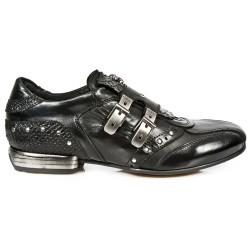 Chaussures New Rock Snob en Cuir Nomada Itali et Python Noires