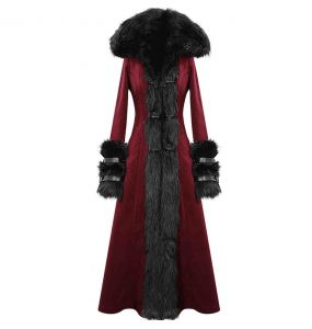 Manteau à Capuche 'Red Frozen' Rouge et Noir
