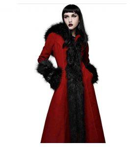 Manteau à Capuche 'Red Frozen' Rouge et Noir