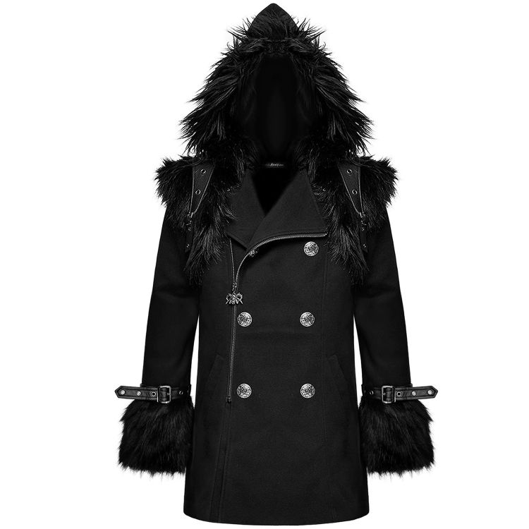 Black 'Soldier' Hooded Winter Jacket