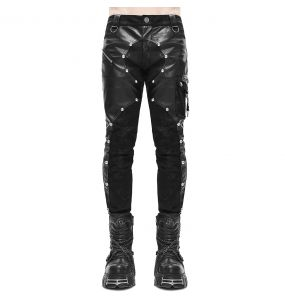 'Haboolm' Pants in Black Denim and Faux Leather