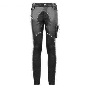 Black Denim and Faux Leather 'Haboolm'  Pants