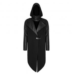 Black Long-Sleeved Hooded 'Helios' Coat