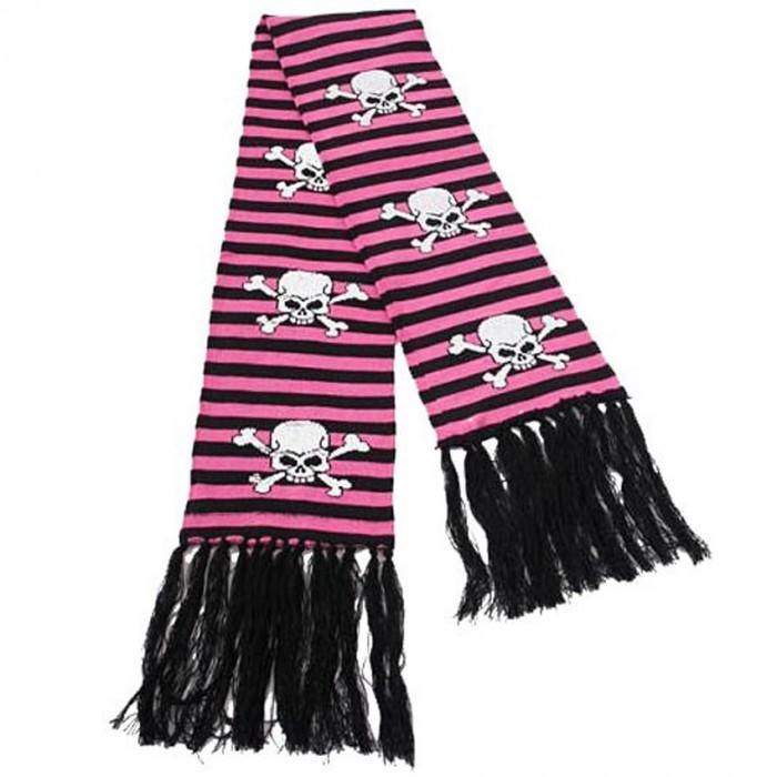 Scarf 'Pink Stripes Skull and Bones'