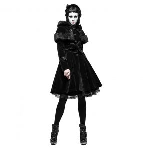 Black Gothic Lolita 'Mishka' Hooded Coat