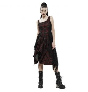 Black and Red Tartan 'Misanthrope' Dress