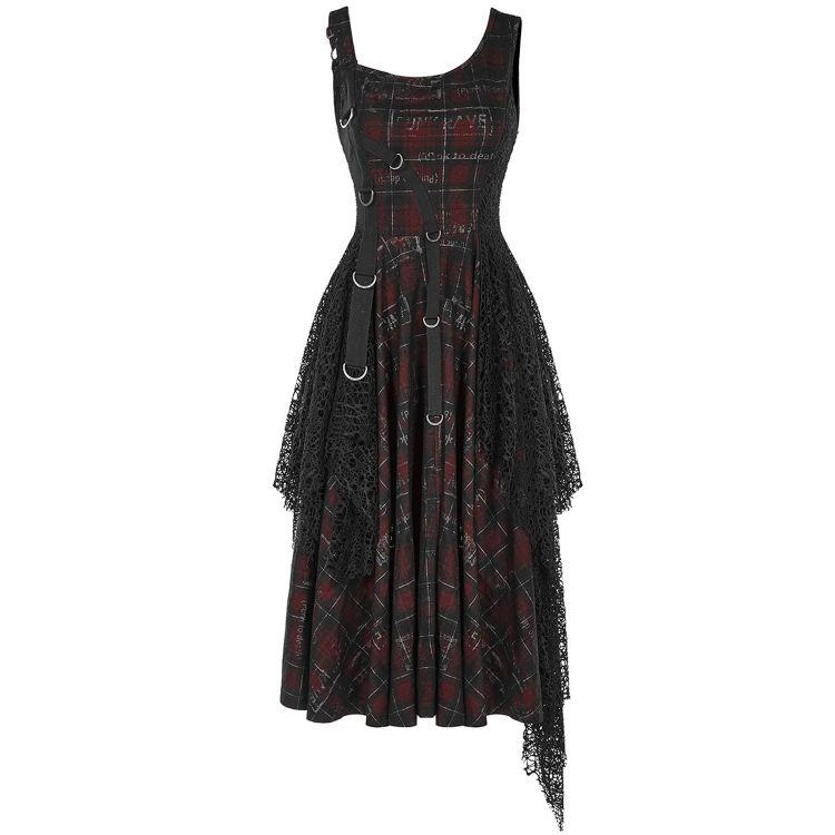 Black and Red Tartan 'Misanthrope' Dress