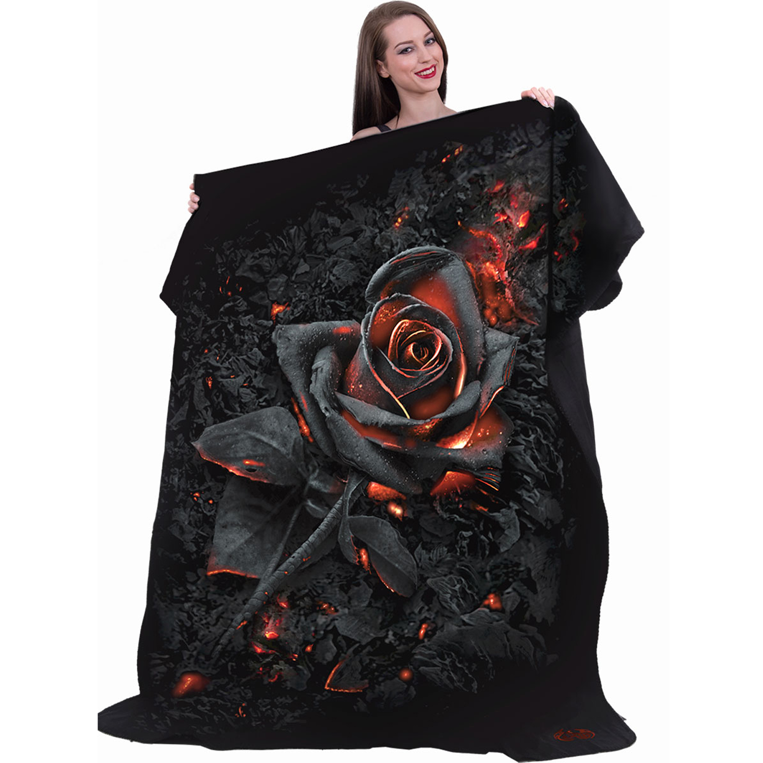 Fleece Blanket with Double Sided Print Bedding Spiral Direct TWISTED SKULLS