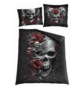 Double Duvet Cover 'Skulls N' Roses' with Pillowcases