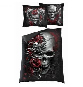 Single Duvet Cover 'Skulls N' Roses' with Pillowcases