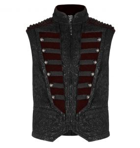 Black Brocade and Burgundy Velvet 'Silvanus' Waistcoat