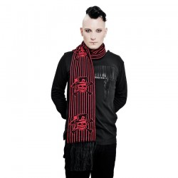 Scarf 'Red Skulls & Stripes'