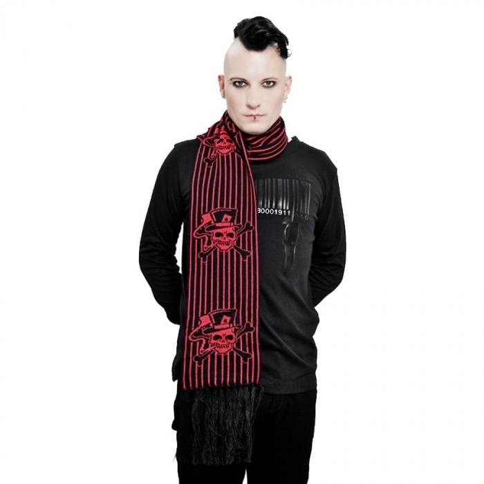 Echarpe 'Red Skulls & Stripes'