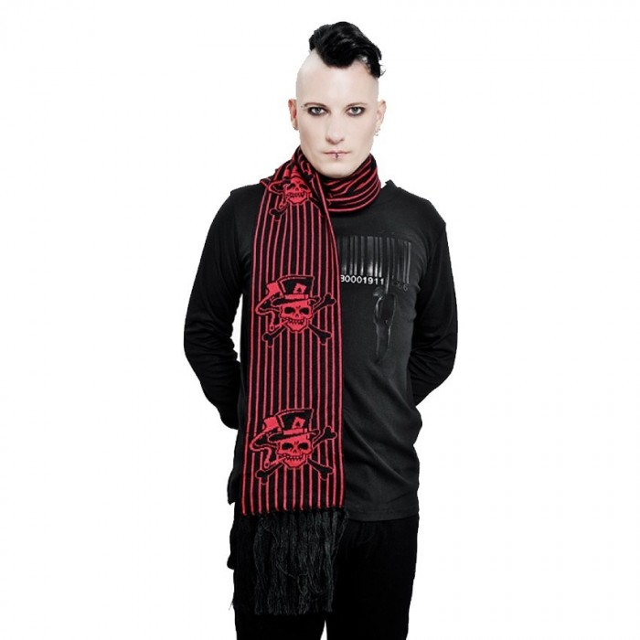 Scarf 'Red Skulls & Stripes'