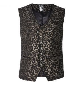 Black and Gold Jacquard 'Silmarilion' Waistcoat