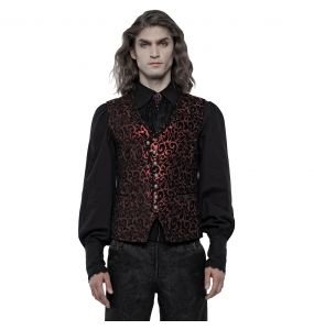 Black and Red Jacquard 'Silmarilion' Waistcoat
