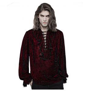 Chemise 'Hamlet' en Velours Rouge